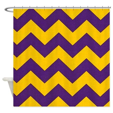 Purple And Gold Chevron Shower Curtain