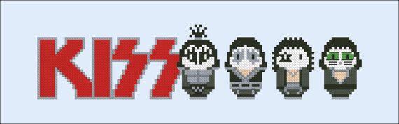 Kiss rock band parody Cross stitch PDF pattern by cloudsfactory
