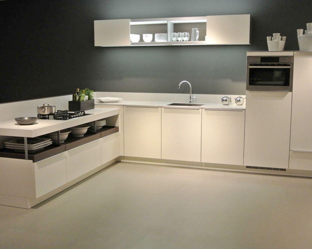 Moderne L Keuken : Witte moderne l vormige keuken keuken