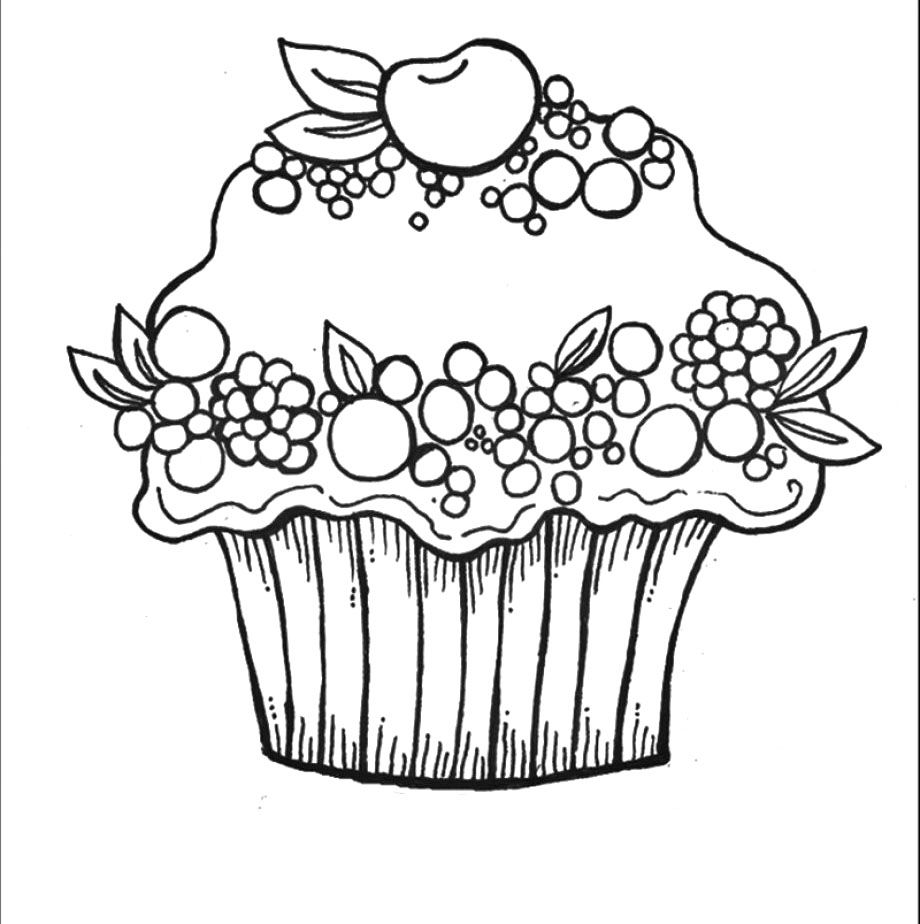 cherry berry cupcake coloring pages stempels 4 pinterest