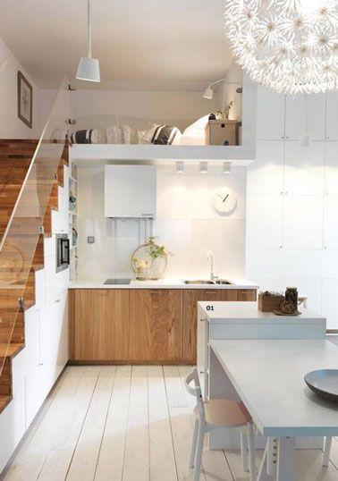 D co la cuisine dit oui au parquet blanc studios deco for Parquet dans une cuisine
