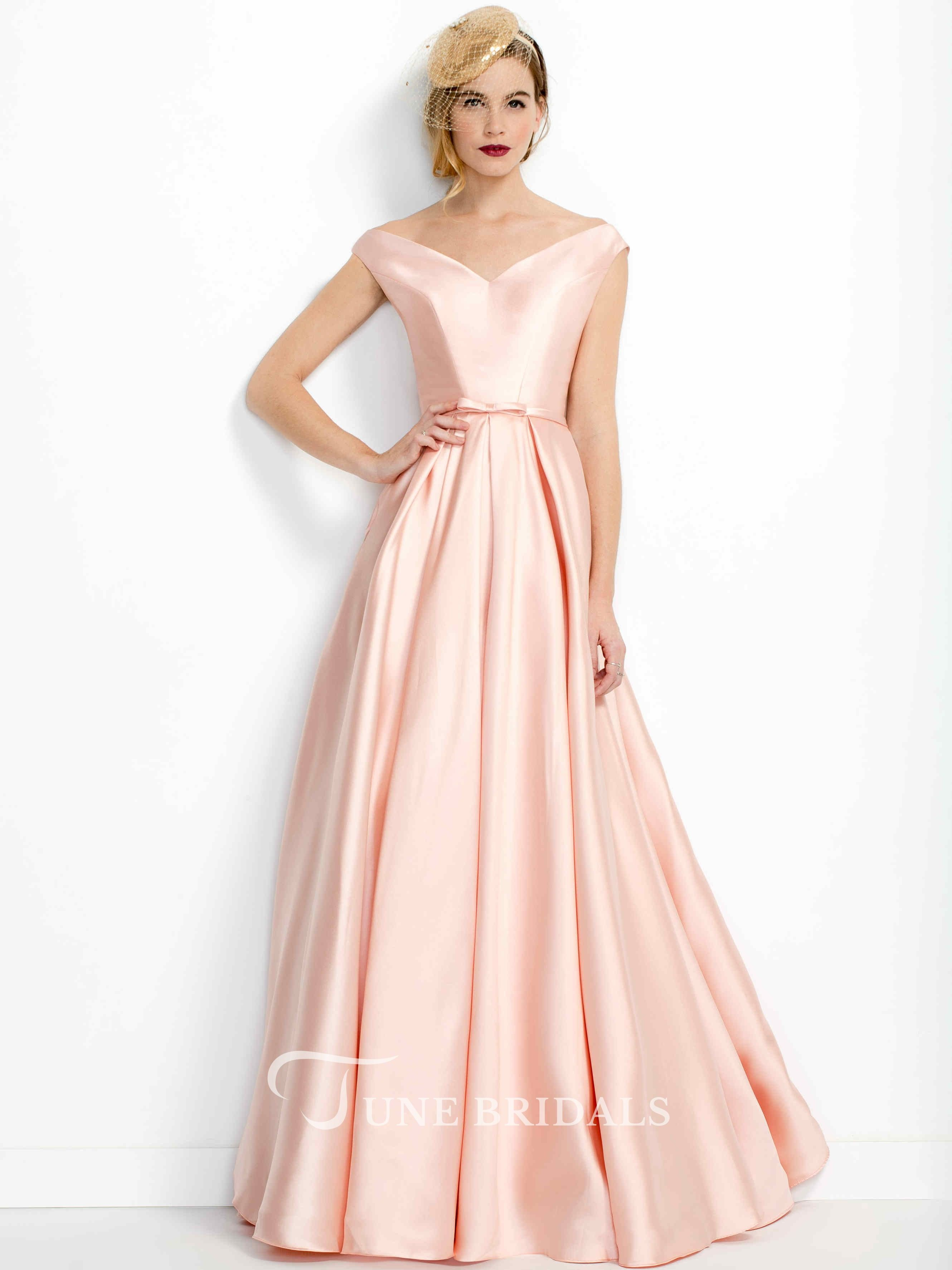 6bfc110ef82 A-Line Pleated V-Neck Floor-Length Satin Prom Dress in 2019