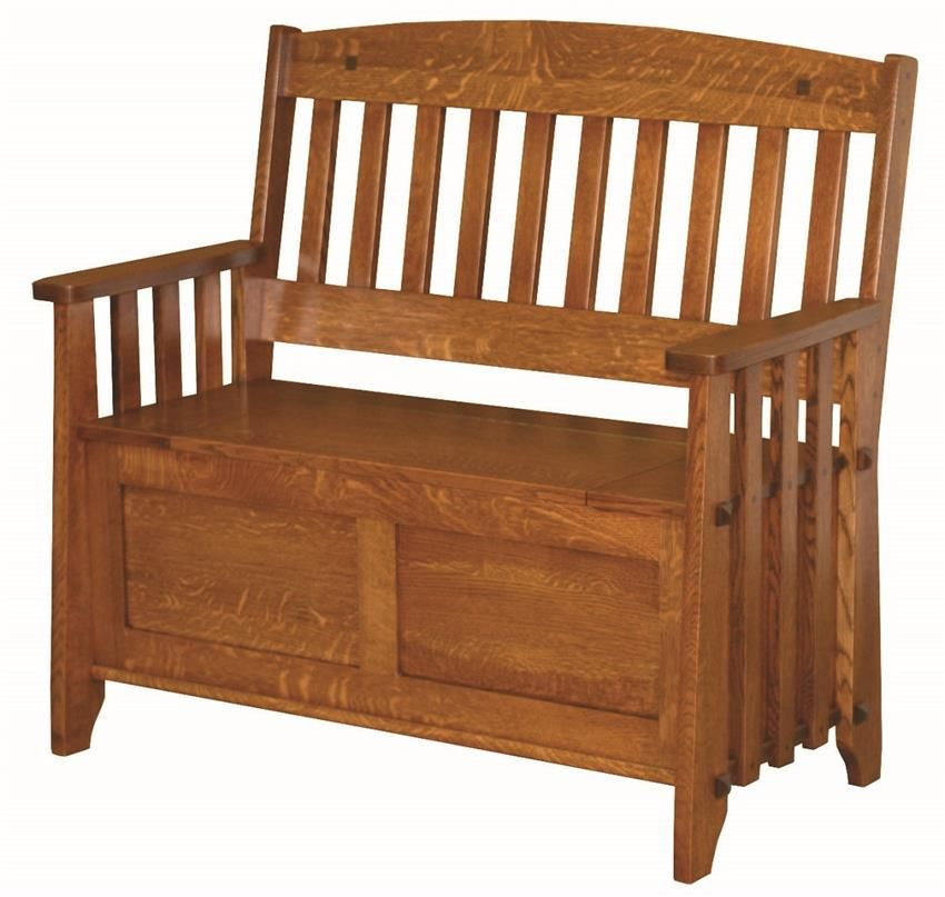 Amish Stick Mission Storage Bench with Lift Seat | Benches ...