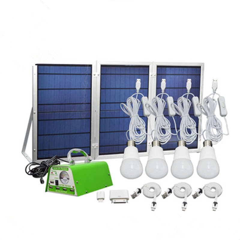 Panel Foldable Hkyh Solar Lighting Kit Home Dc System Usb Charger With 4 Led Light Bulb As Emergency And 5 Mobile Phone Output
