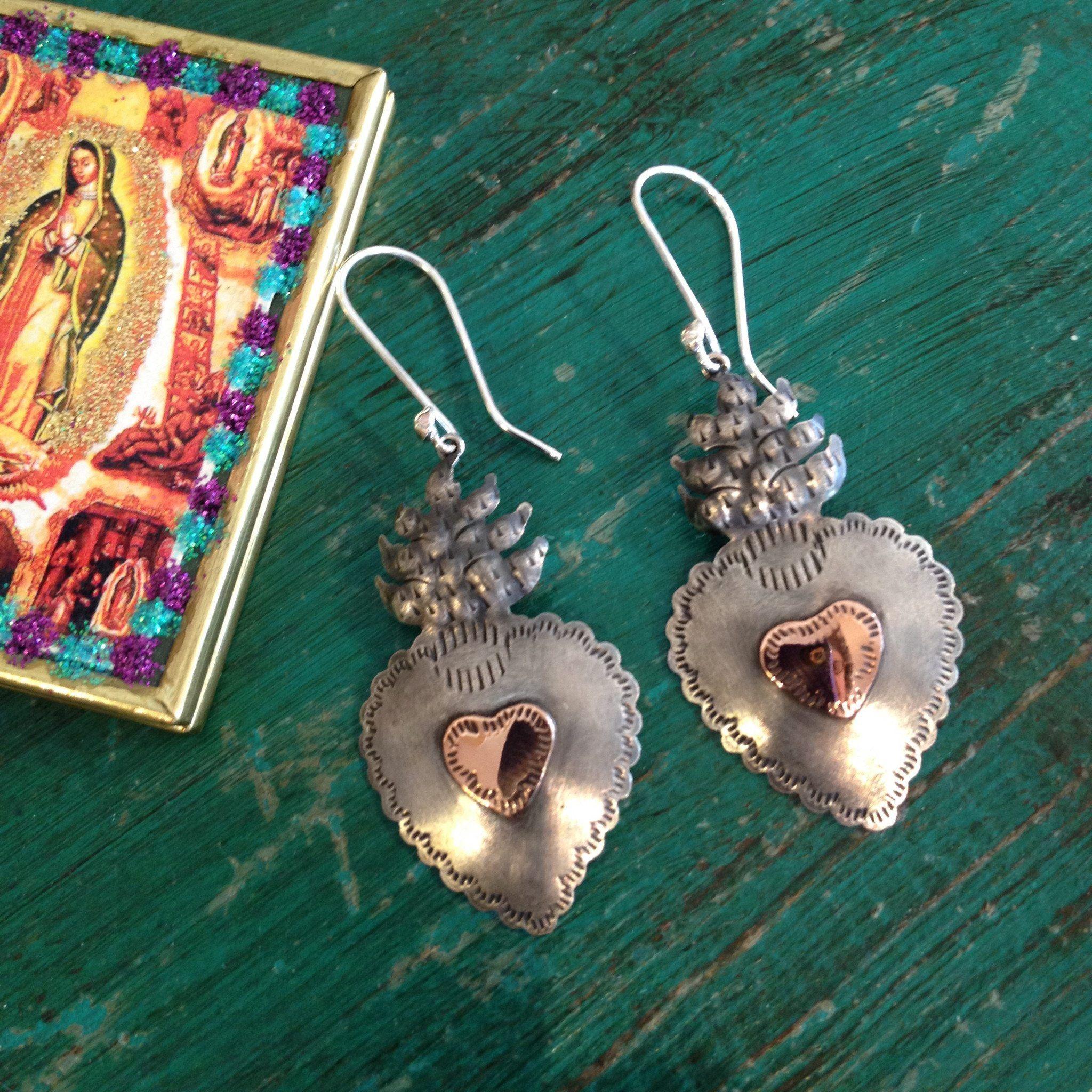d0a073d1c Zinnia Folk Arts - Copper and Silver Sacred Heart Earrings, Oxidized Silver