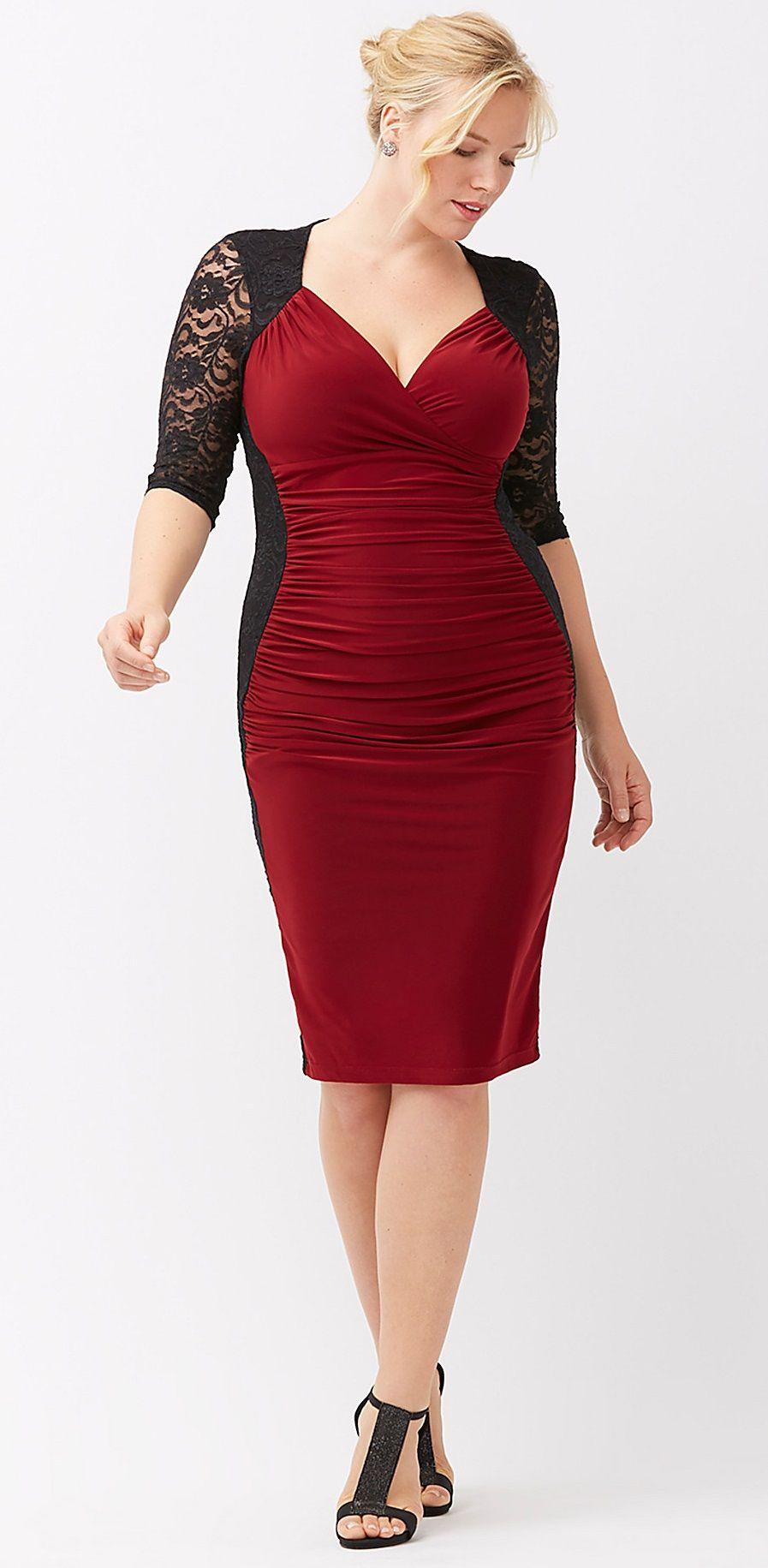 Plus Size Valentine\'s Day Date Dress - Plus Size Lace Illusion Dress ...