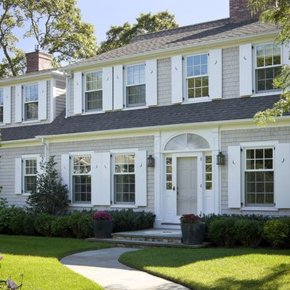 Gray Exterior With White Shutters Colonial House Exteriors