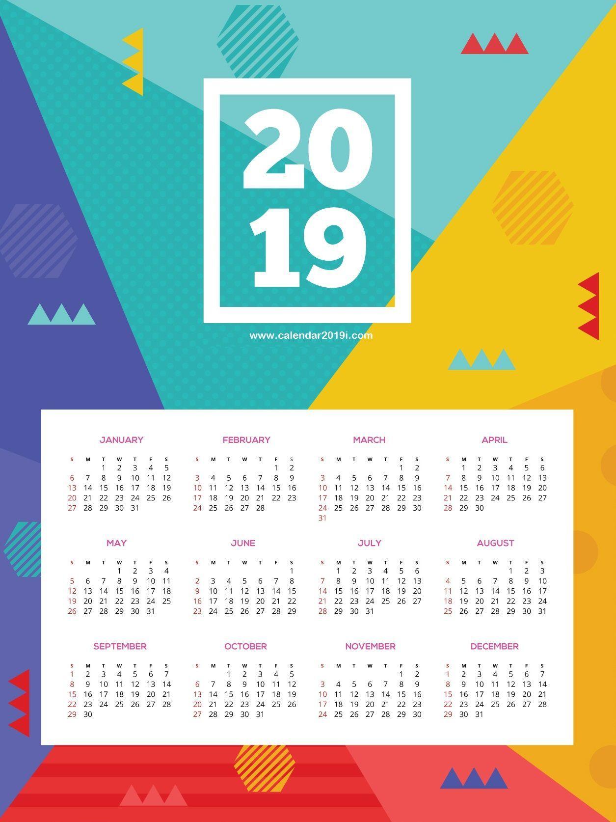 2019 Monthly Wall Calendar Printable Calendar Printables Wall