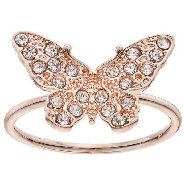 LC Lauren Conrad Pave Butterfly Ring (44 RON) ❤ liked on Polyvore featuring jewelry, rings, light pink, imitation jewelry, butterfly ring, imitation jewellery, fake jewelry and monarch butterfly jewelry