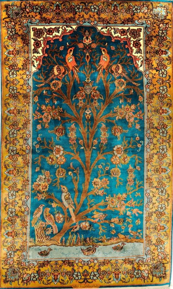 Cyan Blue Carpet From Kashmir With Knotted Tree Of Life