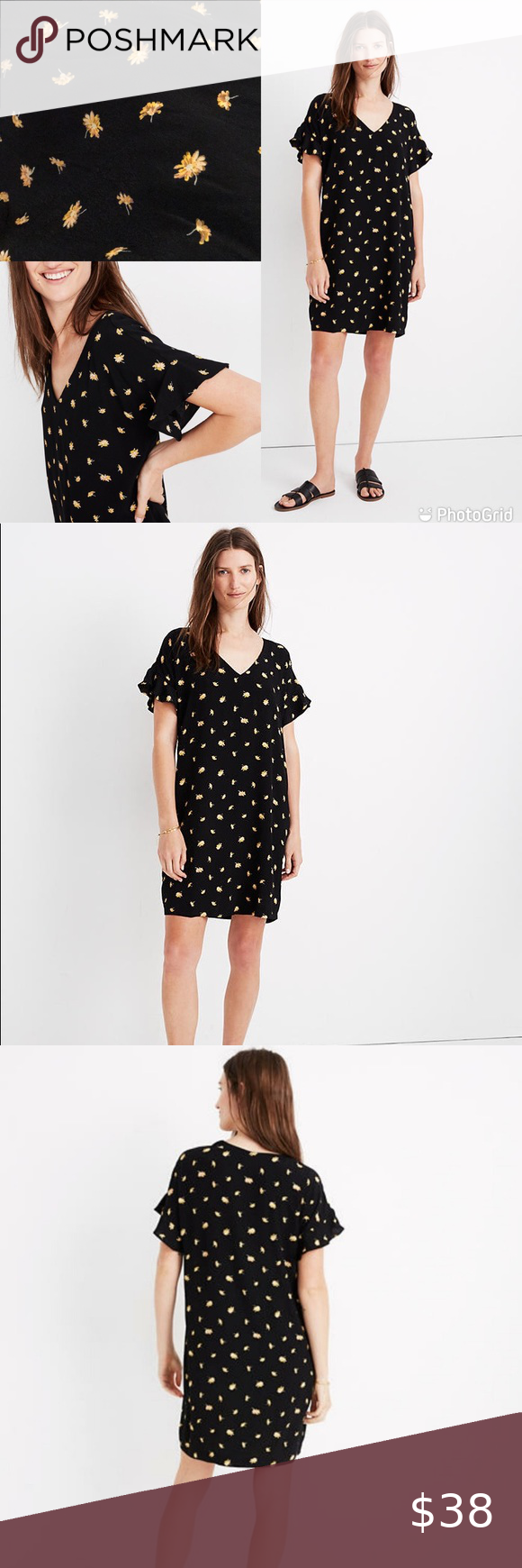 Nwt Madewell Black Dress With Yellow Flowers Black Dress Colorful Dresses Dresses [ 1740 x 580 Pixel ]