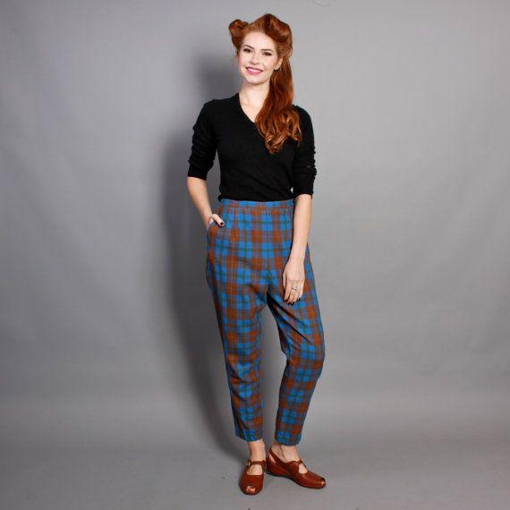 50s Plaid Wool Pinup PANTS / Blue Brown Green TARTAN, m