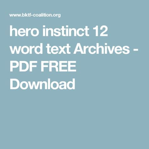 Hero Instinct 12 Word Text Archives Pdf Free Download Texts
