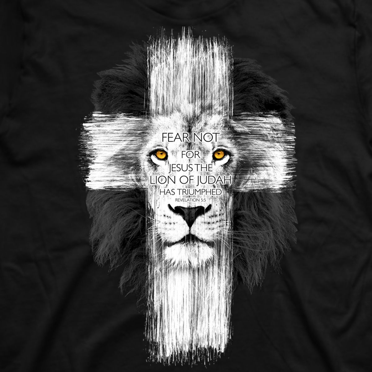 Black t shirt white cross - Christian T Shirt Shop Lion Of Judah Cross T Shirt Christ S Triumph