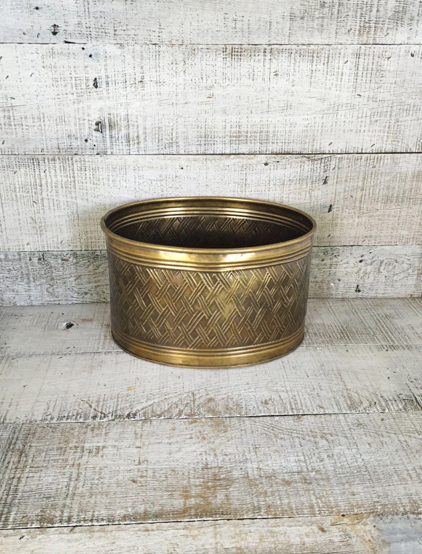 Brass Planter Vintage Brass Bowl Vintage Plant Pot Vintage Garden Container  Brass Flower Pot Brass Outdoor