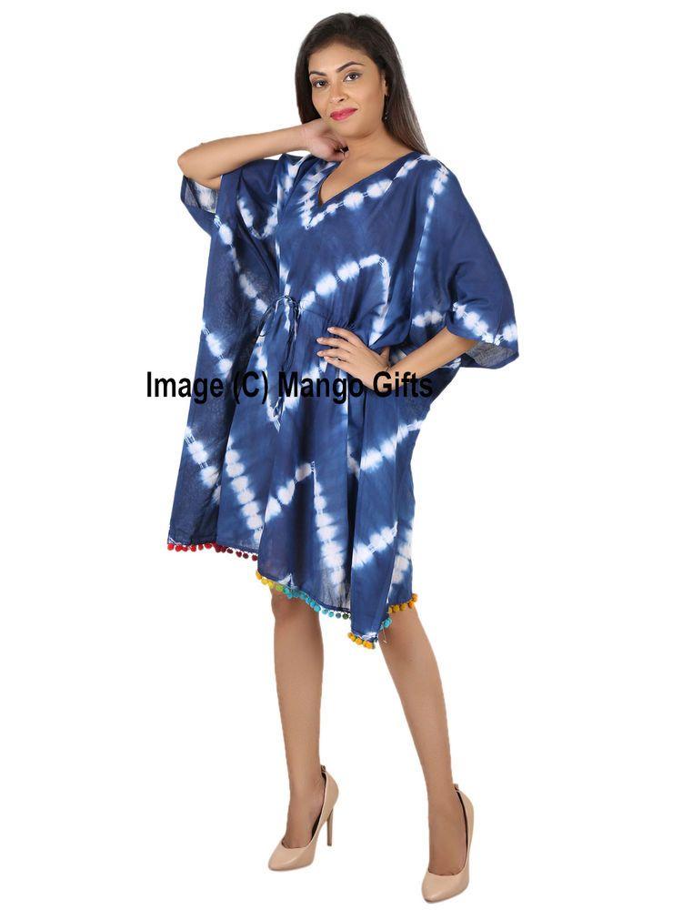 fd323cfc93 Women Wear Caftan Indigo Tie-Dye 100%Cotton Kimono Beach Cover-up Tunic One  size #Handmade #CoverupKaftanMaxiDress #SummerBeachCasual