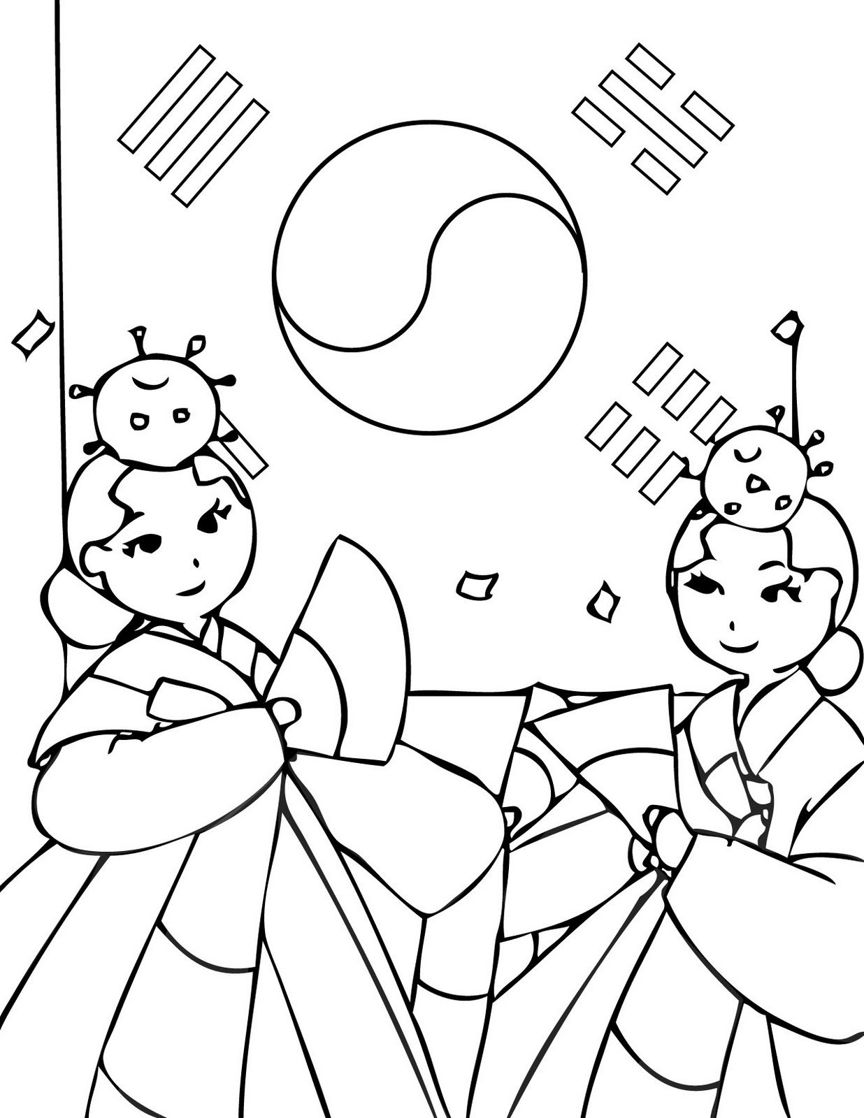 Korea Coloring Page The Cutest Blog Korean Coloring Pages - Korean-hanbok-coloring-pages