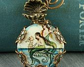 Mermaid Necklace Seahorse Necklace Oyster Brass Filigree Vintage Style Seashell Altered Art
