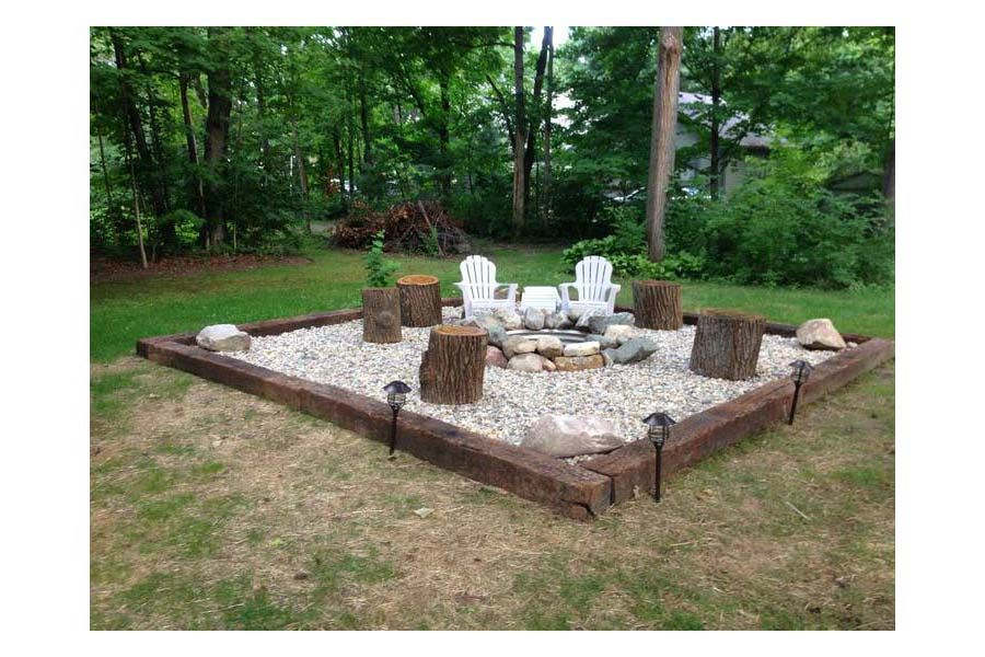 fire pit with gravel and railroad ties | Fire pit ... Railroad Ties Easy Backyard Ideas on backyard landscaping, backyard fountains, backyard walls, ronald reagan ties, backyard vegetable gardens, backyard patios, backyard gates, backyard stone, backyard water gardens, backyard dirt, backyard flowers, mickey mouse ties,