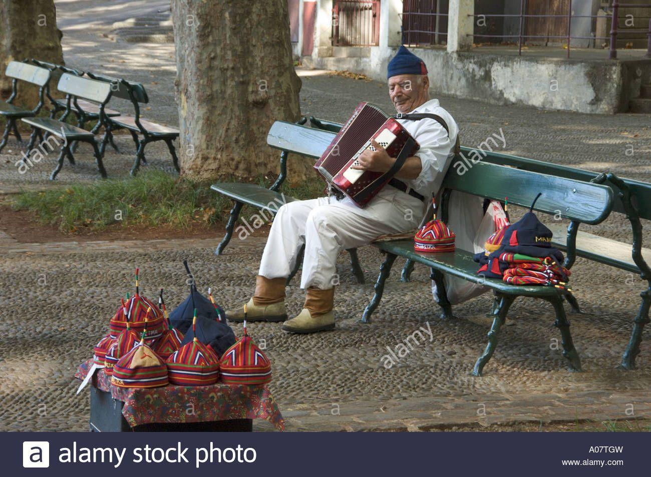 Accordion Player, Regional Costume Stock Photo