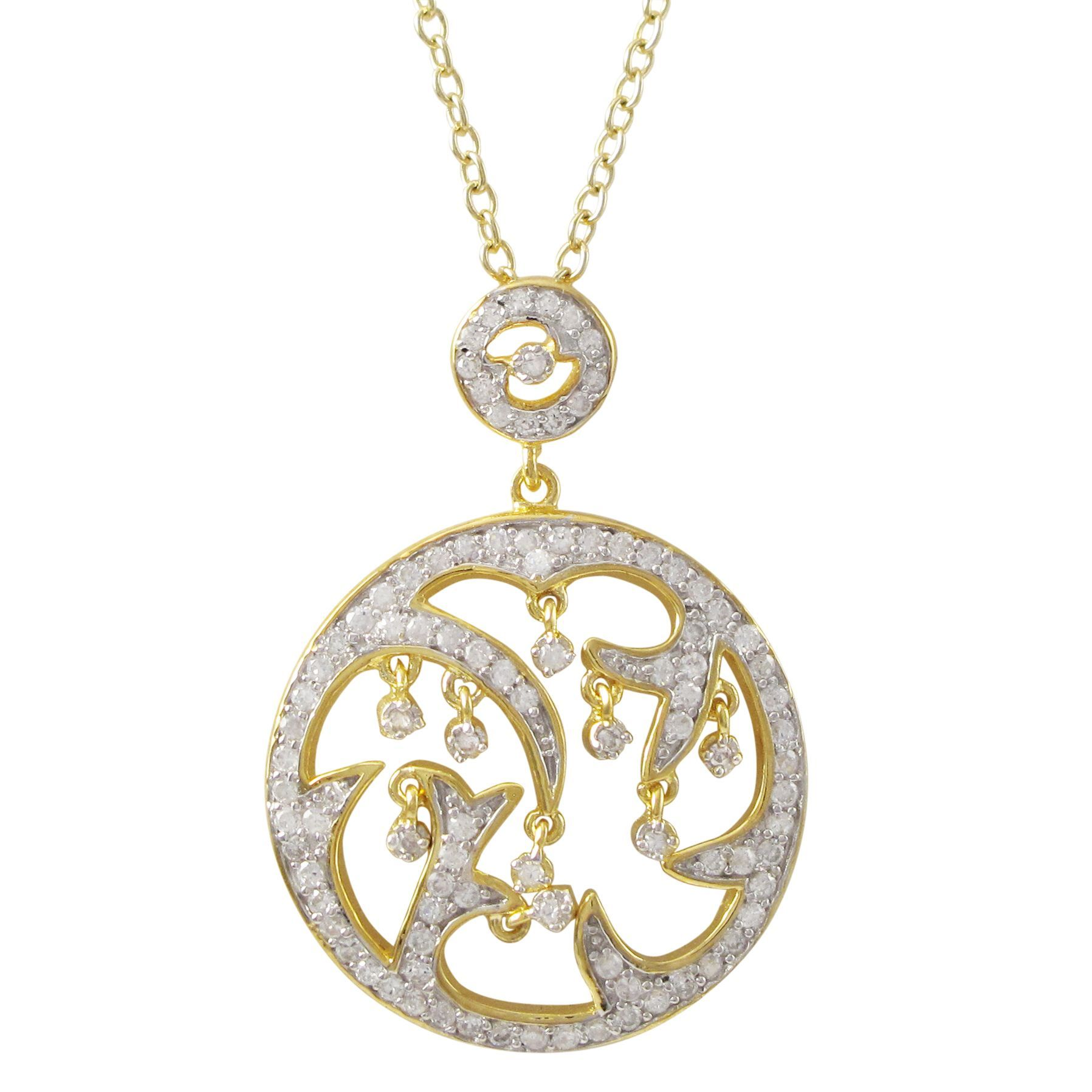 Luxiro Two-tone Gold Finish Sterling Silver Cubic Zirconia Circle Pendant Necklace (Silver), Women's, Size: 16 Inch