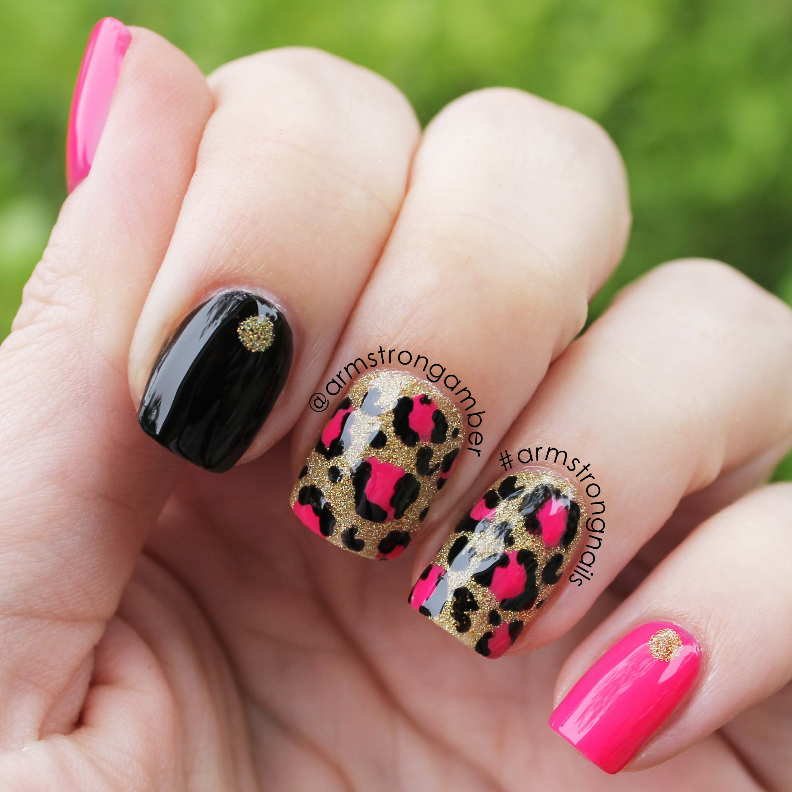 pink and black leopard nail art - by Amber Armstrong