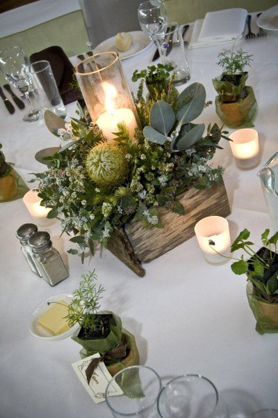Australian Natives In Timber Box With Candle In Hurricane Christmas Table Decorations Hurricane Centerpiece Christmas Table Centerpieces