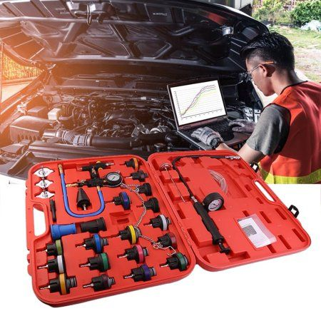 28pcs Radiator Pump Pressure Tester And Vacuum Pump Type Cooling System Kit Red Pump Types Vacuum Pump Cool Stuff