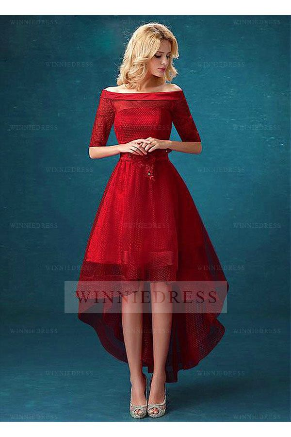 0832a41ae765 Amazing Off the Shoulder A-line Half Sleeve High-Low Tulle Red Homecoming  Dress WNHD0816