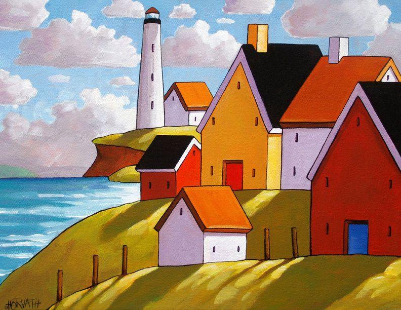 Lighthouse Hillside Seascape 5x7 Folk Art Print by Artist Cathy Horvath Buchanan, Coastal Ocean Colors Landscape Decor, Archival Reproduction Artwork at www.SoloWorkStudio.com on Etsy