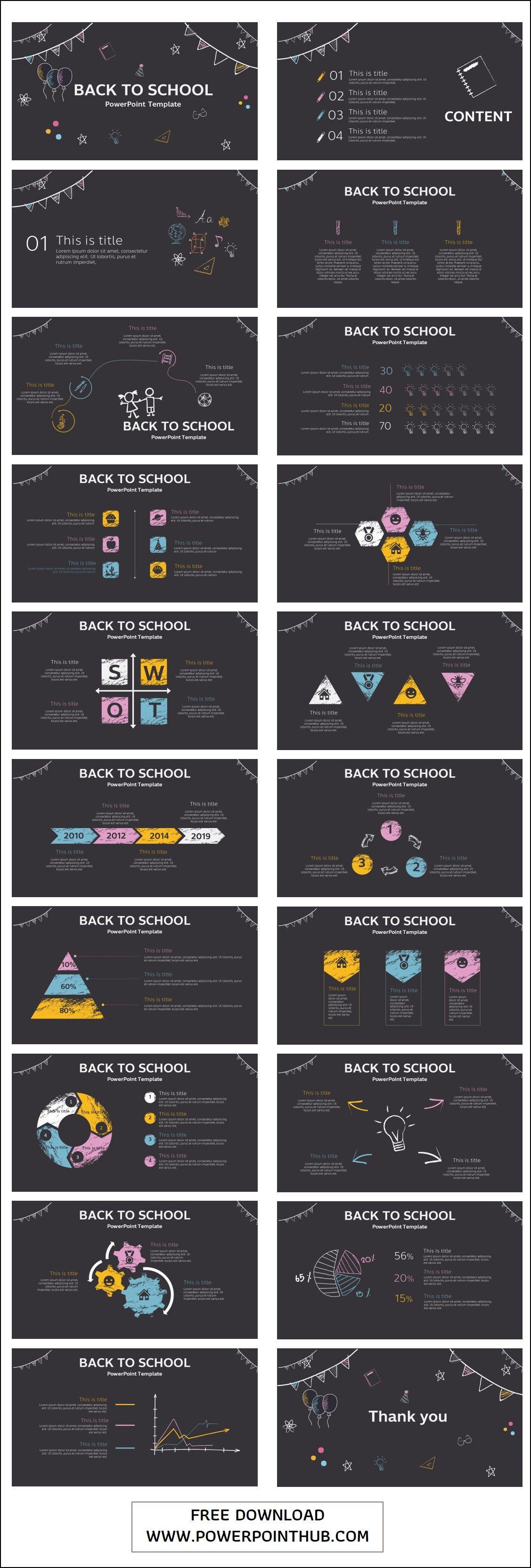 Back to school PowerPoint Template Desain