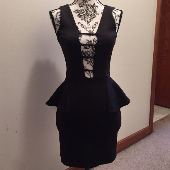 Black Mini Dress Very flirty black dress with a gorgeous fit! Never worn and still has its tag. A stretchy material and deep plunge! Charlotte Russe Dresses Mini