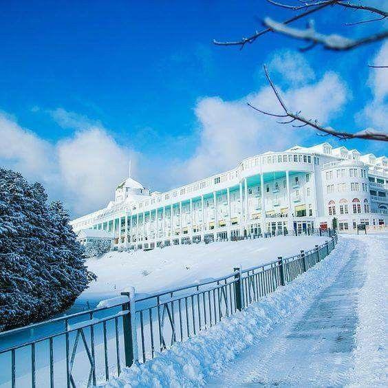 Mackinac Island S Grand Hotel In Winter Photo Via Instagram Grand Hotel Mackinac Island Mackinac Island Michigan Mackinac Island