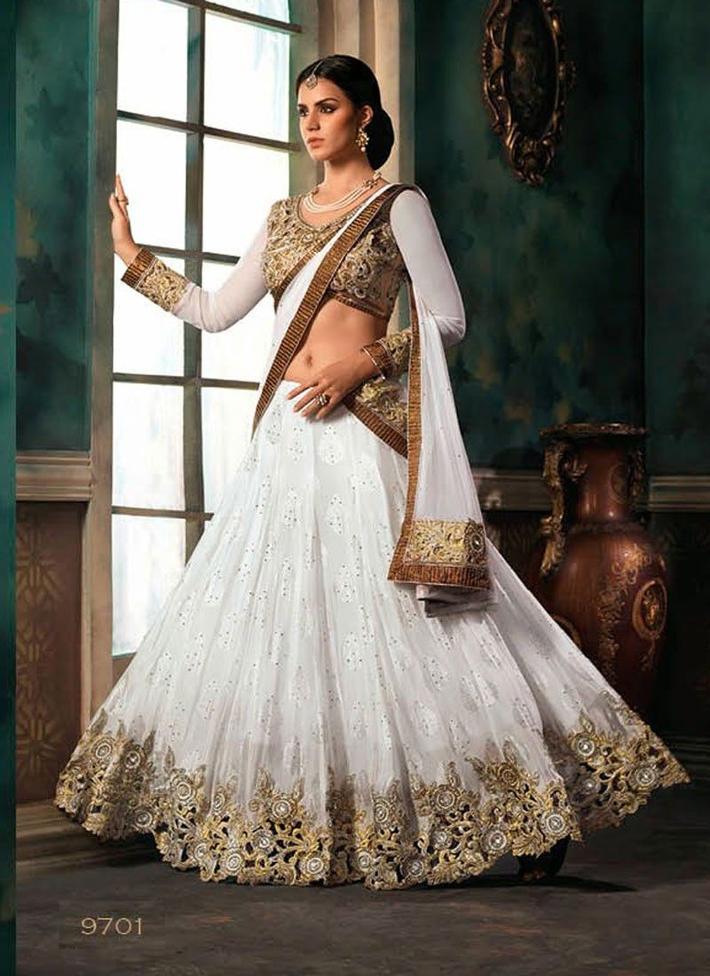 be5cb4b101 Beautiful white and gold lehenga choli | Plethora of my Random Likes ...