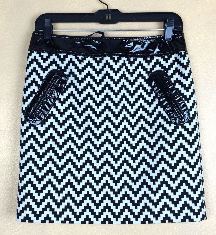 Inc International Concepts Black White Chevron Skirt w Patent Leather Trim SZ 2 #INCInternationalConcepts #ALine