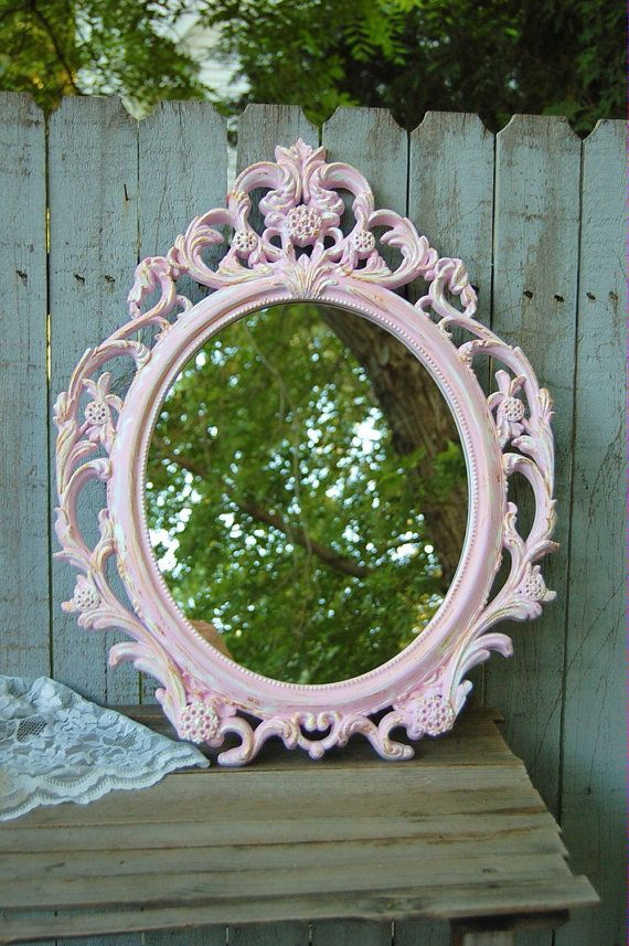 Photo of Shabby Chic Mirror, Pink, White, Gold, Oval, Upcycled, Ornate, Wall Mirror, Wedding Decor, Hand Painted, Hollywood Regency, Baroque Mirror