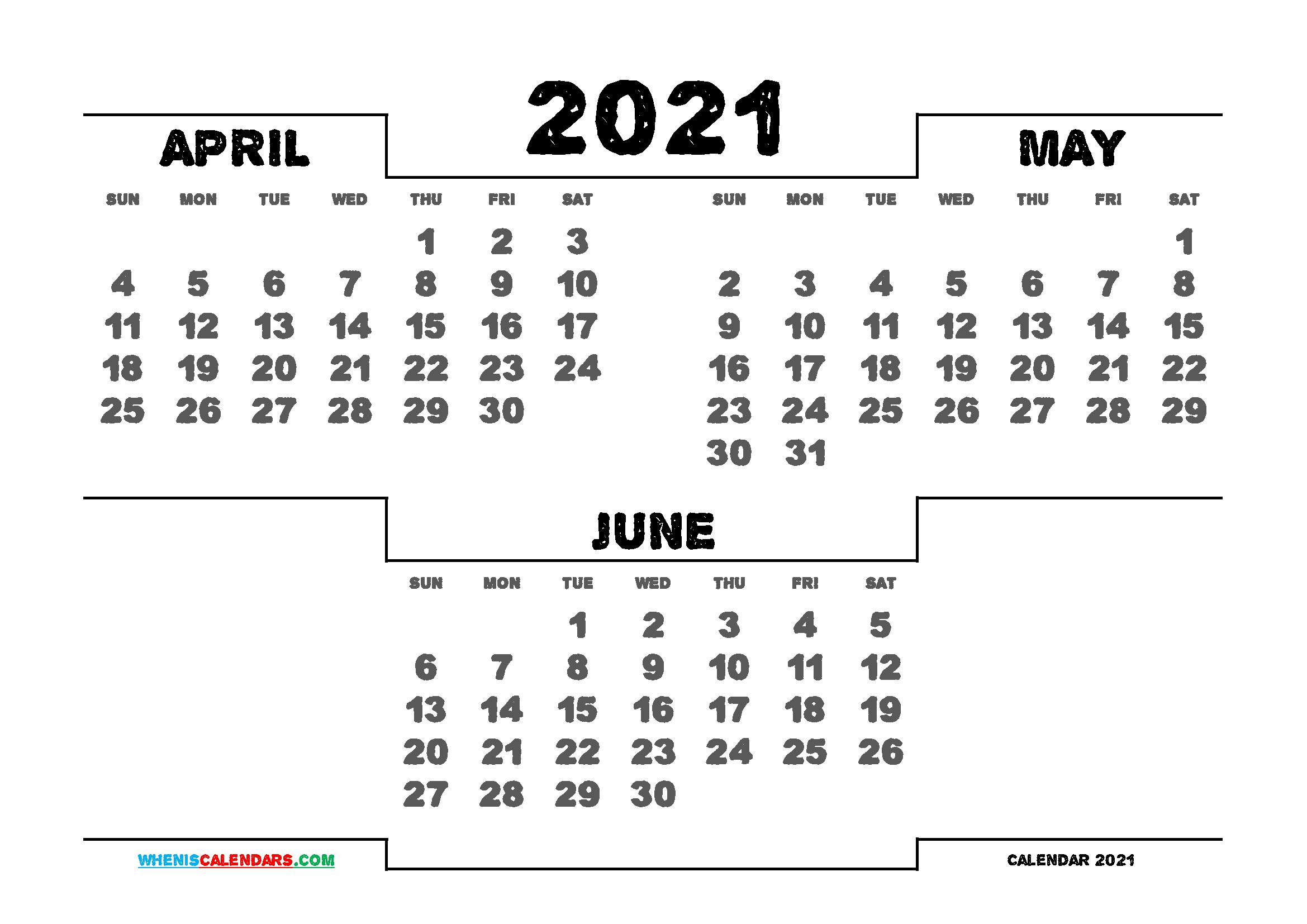 Printable April May June 2021 Calendar 3 Month Calendar In 2020 Calendar Printables 2021 Calendar 3 Month Calendar