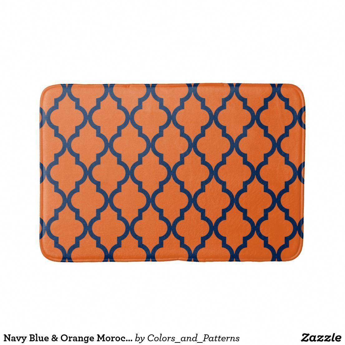Navy Blue Orange Moroccan Pattern Bath Mat Patterned Bath Mats Navy Blue Rug Blue Bathroom Accessories [ 1106 x 1106 Pixel ]