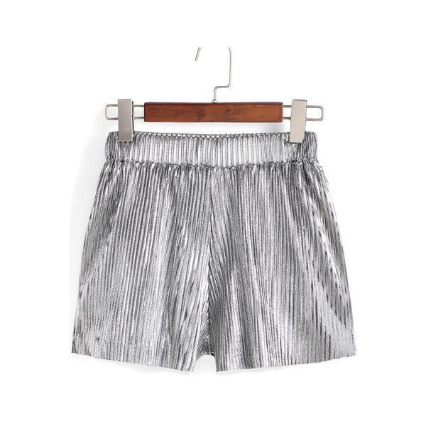 SheIn(sheinside) Silver Elastic Waist Pleated Shorts ($15) ❤ liked on Polyvore