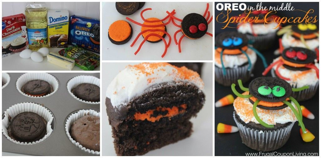 Frugal Coupon Living's Halloween OREO Stuffed Spider Cupcakes. Suprise Cookie instead a cupcake for a Kids Fall Party this October Season. Pin to Pinterest