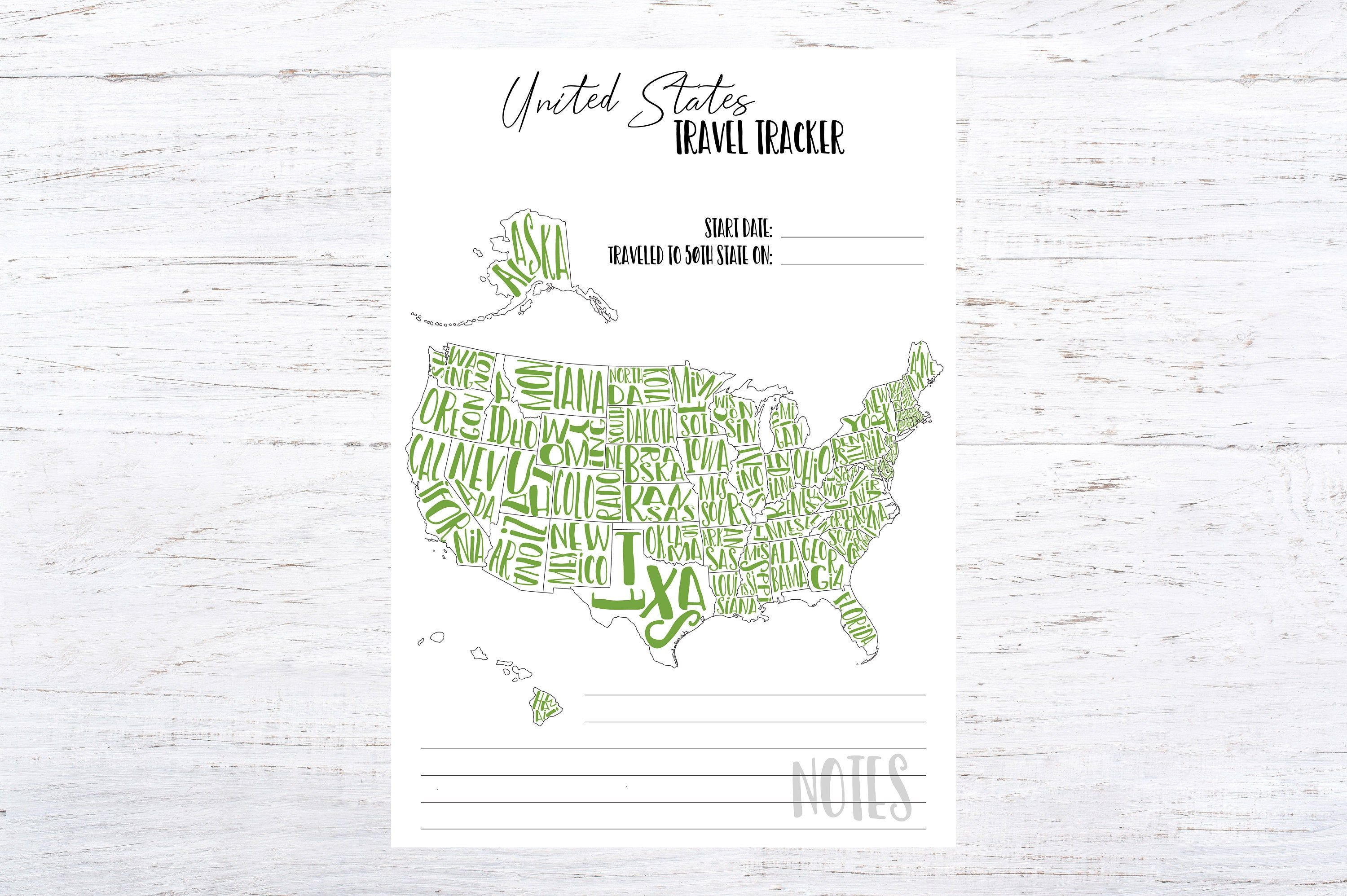 Printable United States Travel Tracker Lime 50 State