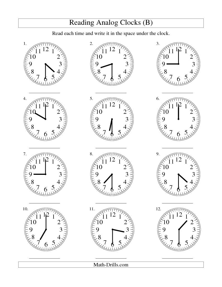 Reading Time On An Analog Clock In 30 Minute Intervals B With