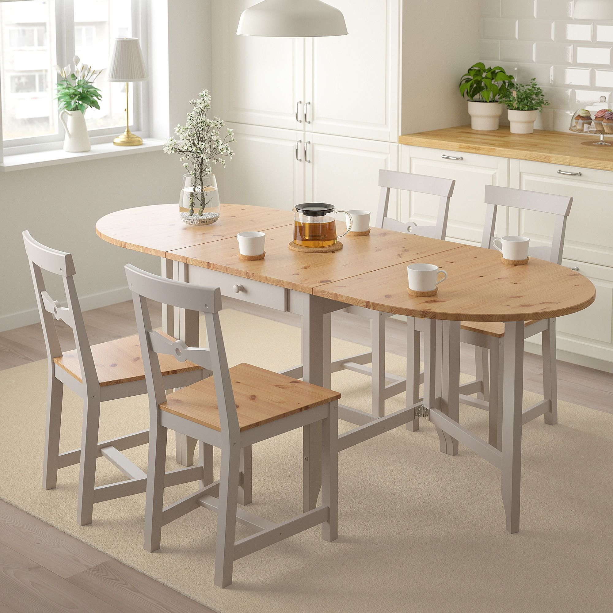 Gamleby Gateleg Table Light Antique Stain Gray 263 8 523 4 791 8x303 4 67 134 201x78 Cm Ikea Small Kitchen Tables Dining Table Small Space Dining Table In Kitchen
