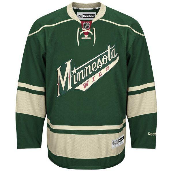 f57b35661 Men s Minnesota Wild Blank Reebok Green Premier Alternate Jersey ...