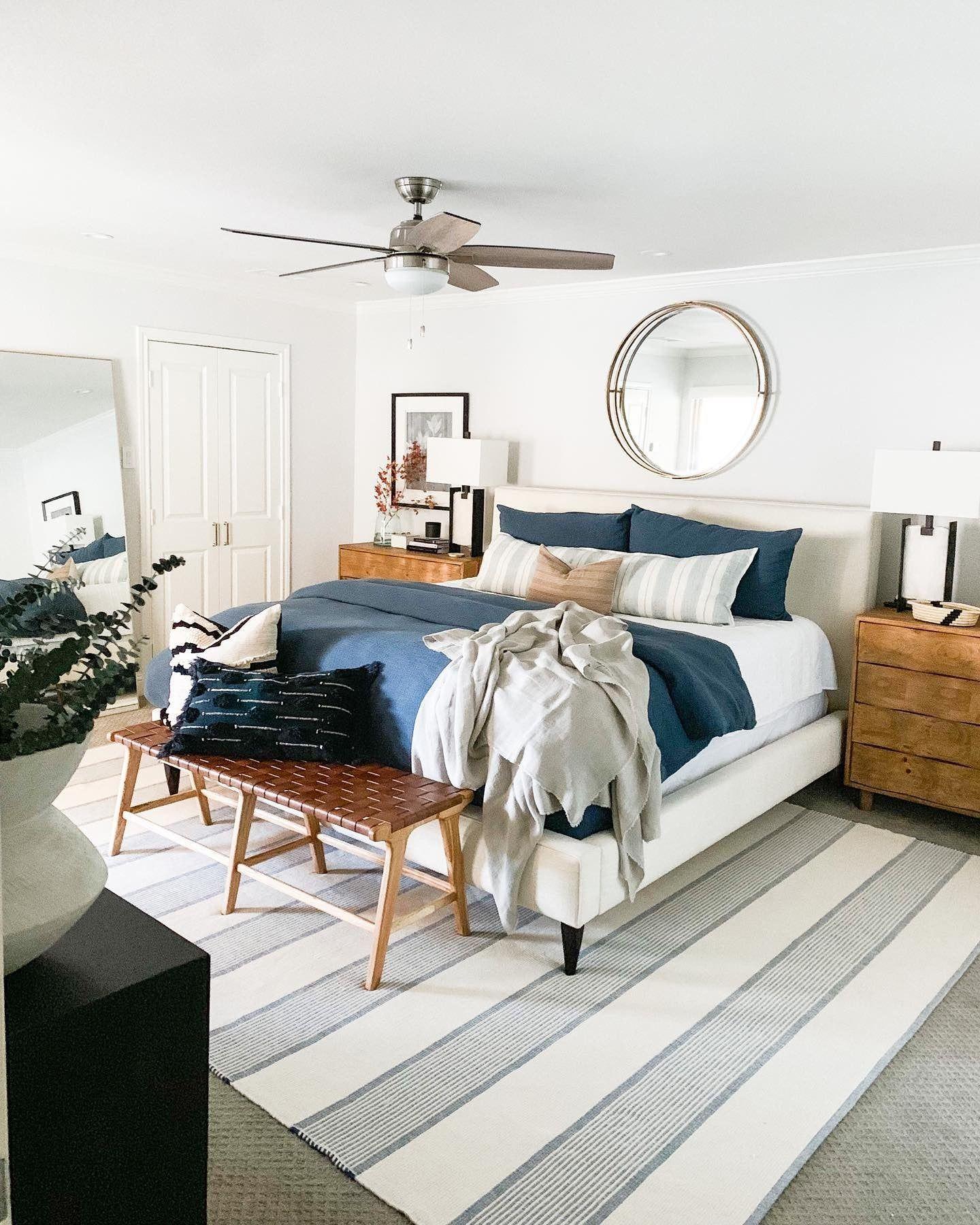 La Mirada Navy Woven Cotton Rug Dash Albert In 2020 Bedroom Inspirations Guest Bedroom Design Small Bedroom