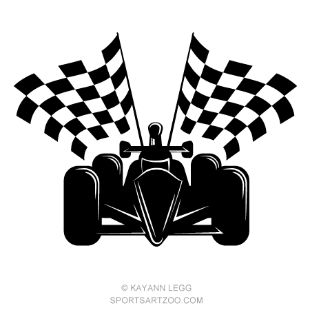 Indy Style Racing Car with Checkered Flags | Flag, Checkered flag ...