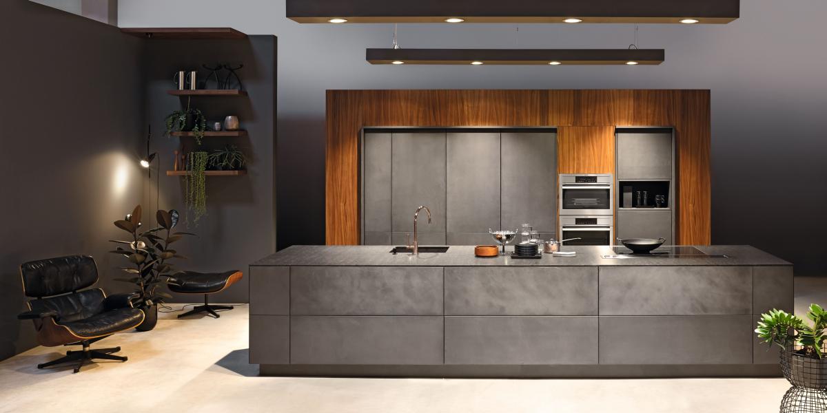 kh kitchen concrete look anthracite walnut veneered arc pinterest k che. Black Bedroom Furniture Sets. Home Design Ideas