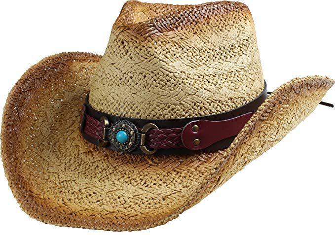 c076b1d88ac2f Classic Straw Cowboy Cowgirl Hat Western Outback w Wide Brim - B ...