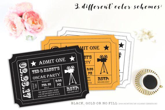 Oscar Party Invitation, Movie Night Party, Movie Ticket, Ticket Stub - ticket invitation template