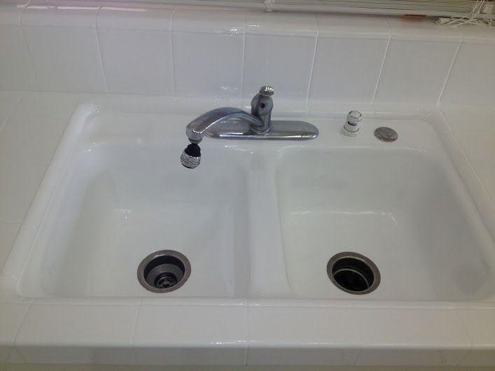 Pkb Reglazing Double Bowl Kitchen Sink Tile Countertop Reglazed White